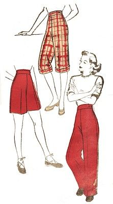 Vintage Fashion Library - Vintage 1940s Trousers Pants Shorts Pedal Pushers Sewing Pattern 104