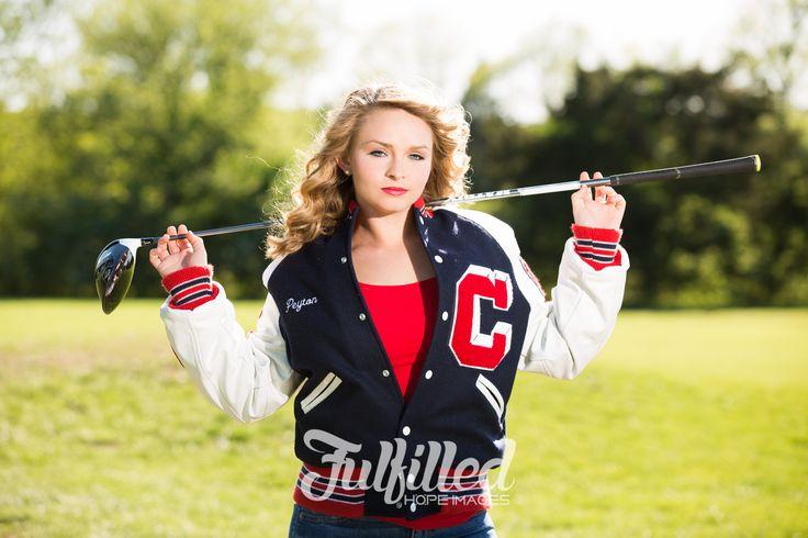 Spring senior session. Senior golf player girl in her letter jacket!