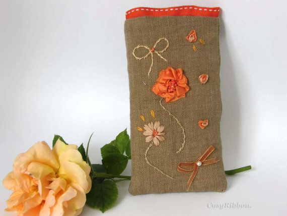 Phone Case-Phone Pouch-Hand Embroidery silk on Linen by cosyribbon