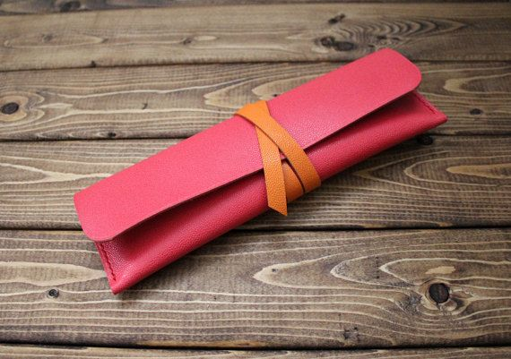 Hand-stitched leather pencil case in Caviar Pattern Embossed calf CORAL RED (Free Personalization)