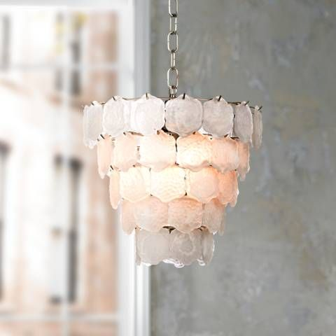 """Capiz Style White Glass Chip 12"""" Wide Small Chandelier - #57392 