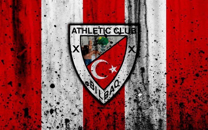 Download wallpapers Athletic Bilbao, 4k, grunge, La Liga, stone texture, soccer, football club, LaLiga, Athletic Bilbao FC