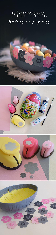Påskpyssel! Gör en skål av ett halvt pappersägg. Eastercrafts Easter DIY, easter egg, påskägg @helenalyth