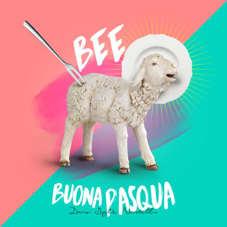 Bee Buona Pasqua personal easter campaign 2017 #easter #graphic #2017 #design #posterdesign #agnello #eat #meat #color #bicolor #fork #plate #food