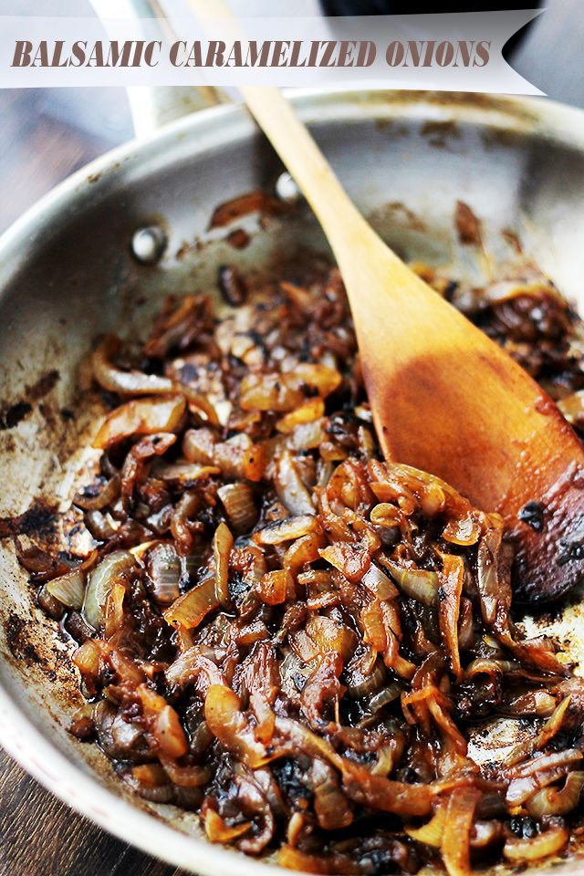 Balsamic Caramelized Onions | www.diethood.com | Soft, dark and sweet caramelized onions with a splash of tangy balsamic vinegar.