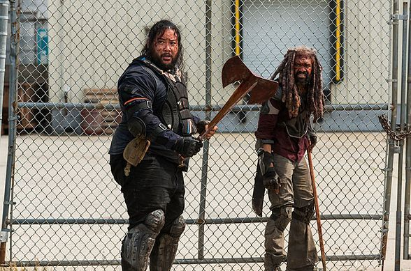 Ezekiel (Khary Payton) and Jerry (Cooper Andrews) in The Walking Dead Season 8 Episode 4 Photo by Gene Page/AMC