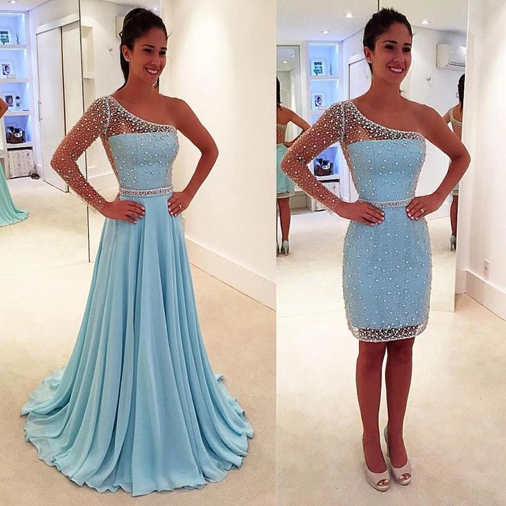 Detachable Prom Dresses 2016 Sheer One-Shoulder Long Sleeves A Line Floor Length Crystals Pearls Beading Chiffon Evening Long Gowns Online with $132.67/Piece on Olesa's Store   DHgate.com