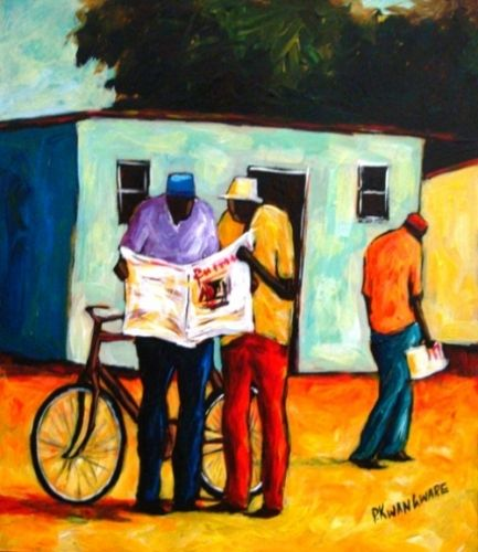 Acrylic Painting - Sharing the News by Peter Kwangware