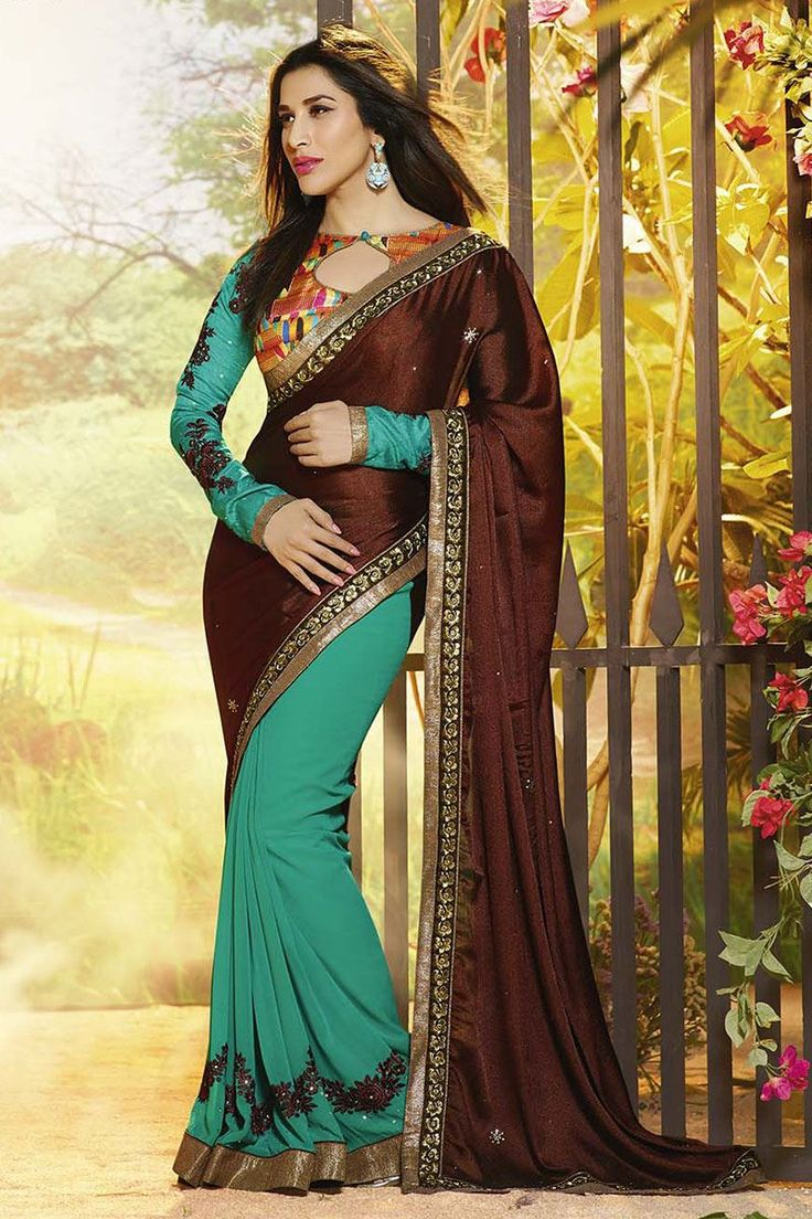 Brown & green color dual fabric saree with thread embroidery