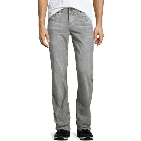 True Religion Ricky Heritage Corduroy Pants ($199) ❤ liked on Polyvore featuring men's fashion, men's clothing, men's pants, men's casual pants, black, mens corduroy pants, mens zip off pants, mens zipper pants and men's 5 pocket pants