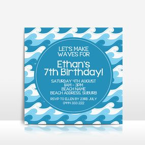 Waves / Surf / Ocean / Sea square birthday invitation