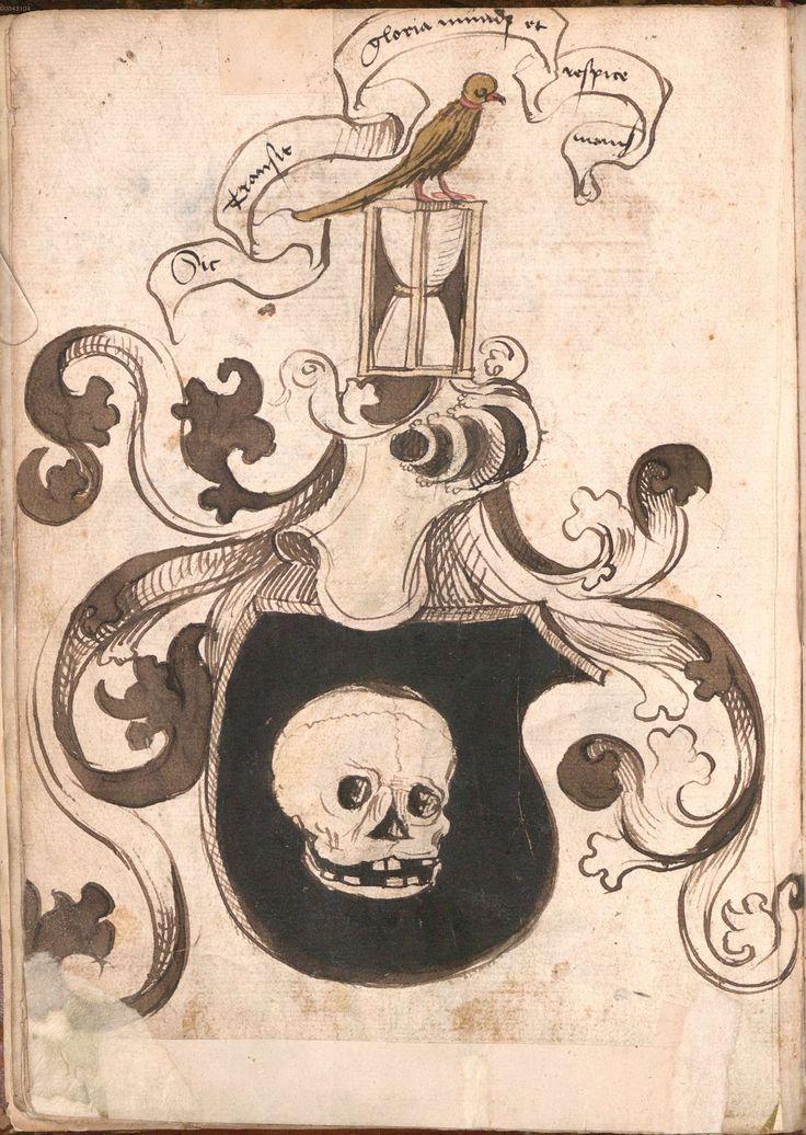 """""""Wernigeroder (Schaffhausensches) Wappenbuch""""; Süddeutschland 4. Viertel 15. Jh. Bayerische Staatsbibliothek München, Cod.icon. 308 n Wappen des Todes"""