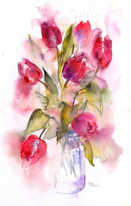 Rachel Mcnaughton - Tulip Jar | watercolor flowers ...