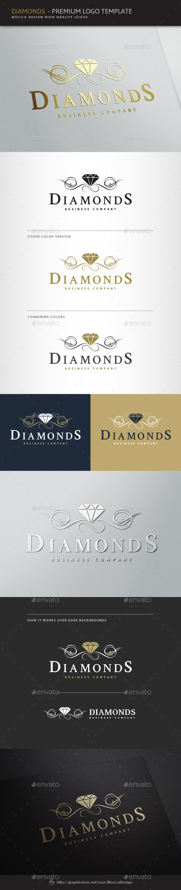 Diamonds Logo — Vector EPS #shiny crystals #decorative business • Available here → https://graphicriver.net/item/diamonds-logo/4143456?ref=pxcr