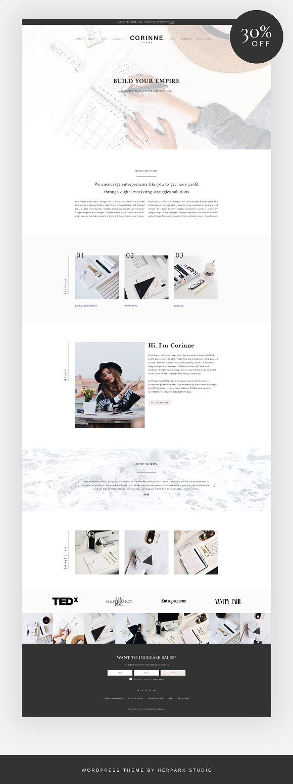 Corinne – A Theme for entrepreneurs by herpark on @creativemarket #theme #wordpress #clean #modern #website #ad #sale #discount