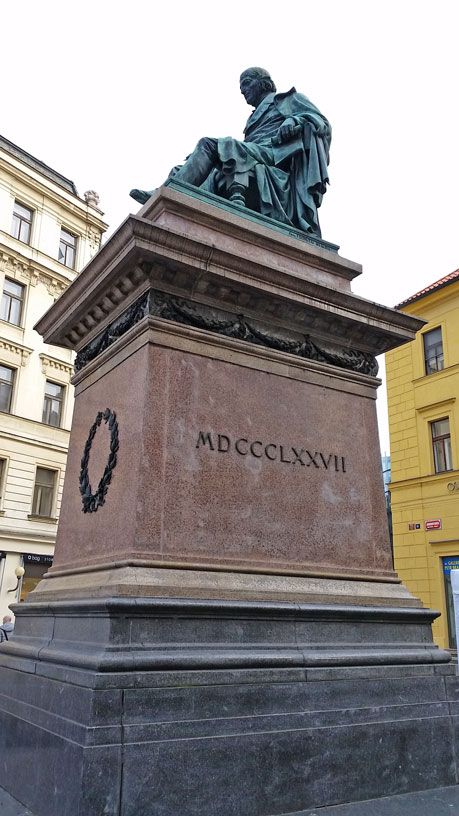 Less than 100 metres from Wenceslas Square. Josef Jungmann was at the forefront of the Czech Reformist movement and almost single-handedly reconstructed the written Czech language as we know it today.