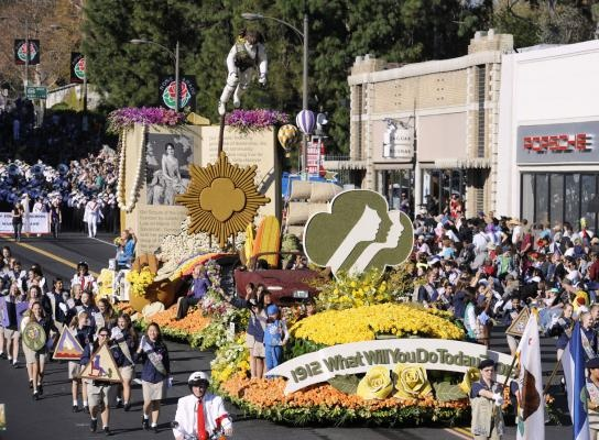 """The Girl Scouts of Greater Los Angeles """"100 Years of Girl Scouts"""" float  in the 123rd Tournament of Roses Parade held in Pasadena, California on January 2, 2012."""