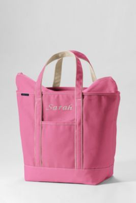Large Colored Zip Top Tote Bag from Lands' End