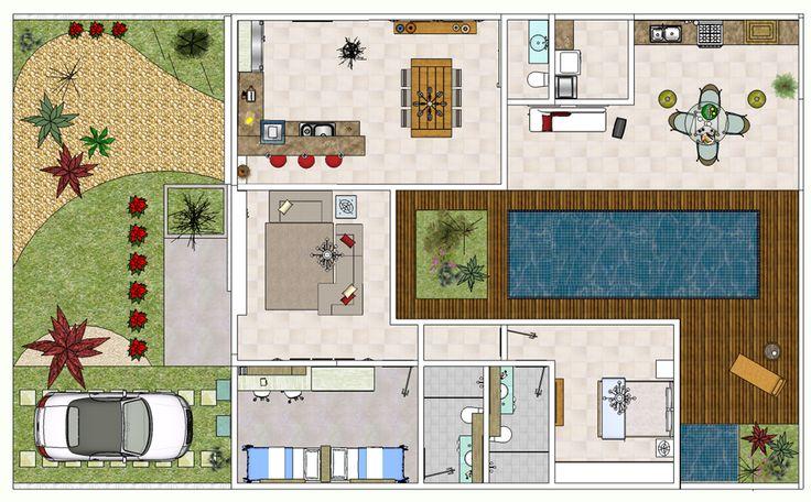 Projetos de piscinas planta baixa quartos e ems for Plantas para piscinas