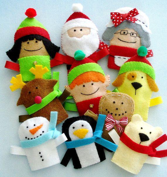 Felt Christmas Finger Puppets Sewing Pattern - PDF ePATTERN. $4.99, via Etsy.