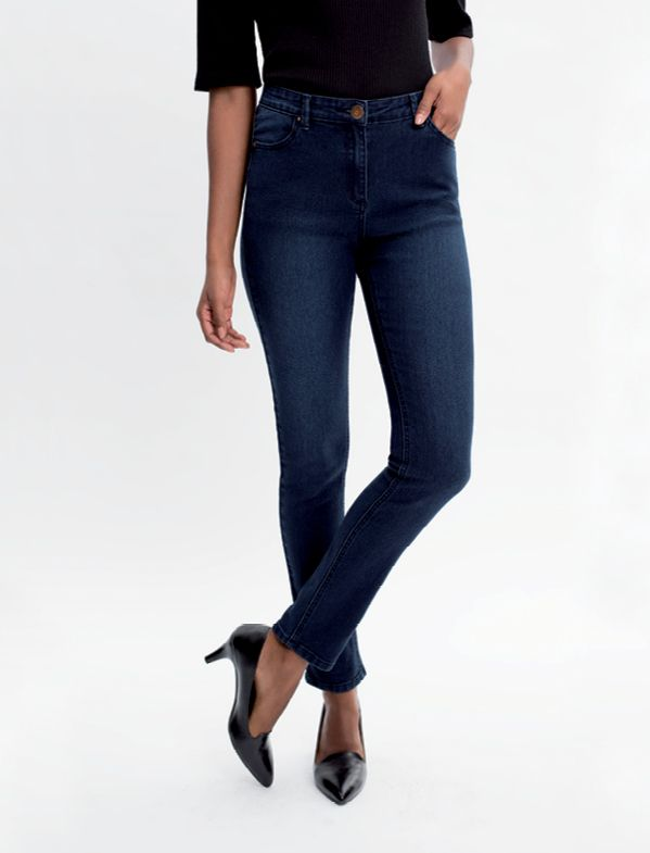 The Slim Leg:- A slim fit through the thigh, knee and hem. A slim leg sits in - between a jegging and a straight leg.