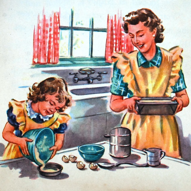 1940s Vintage mother and child cooking illustration from a Dick and Jane Reader, 1947