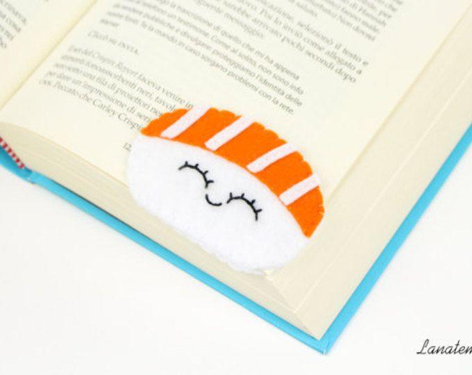 Sushi segnalibro ad angolo, nigiri salmone fatto a mano, cibo giapponese, regalo amante sushi, pannolenci arancione, idea compleanno