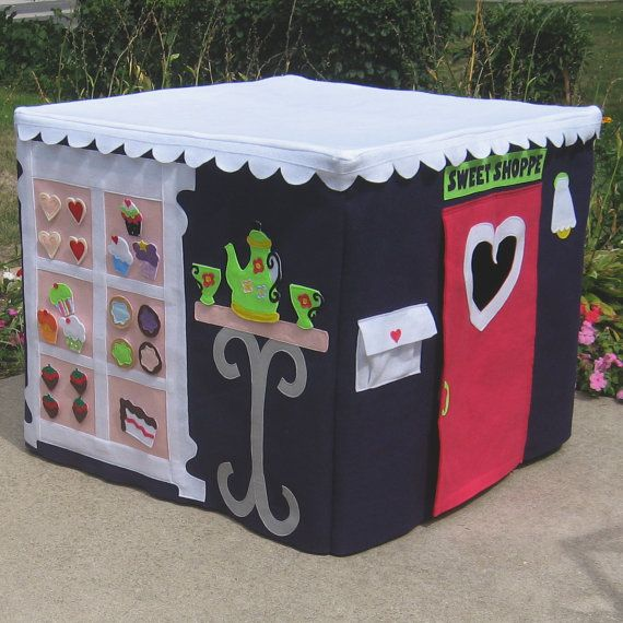 """Cupcakery Card Table Playhouse!  All the food is removable and can be set on the table.  The other side has a cake you can """"decorate"""" and there's """"mail"""" in the mailbox!"""