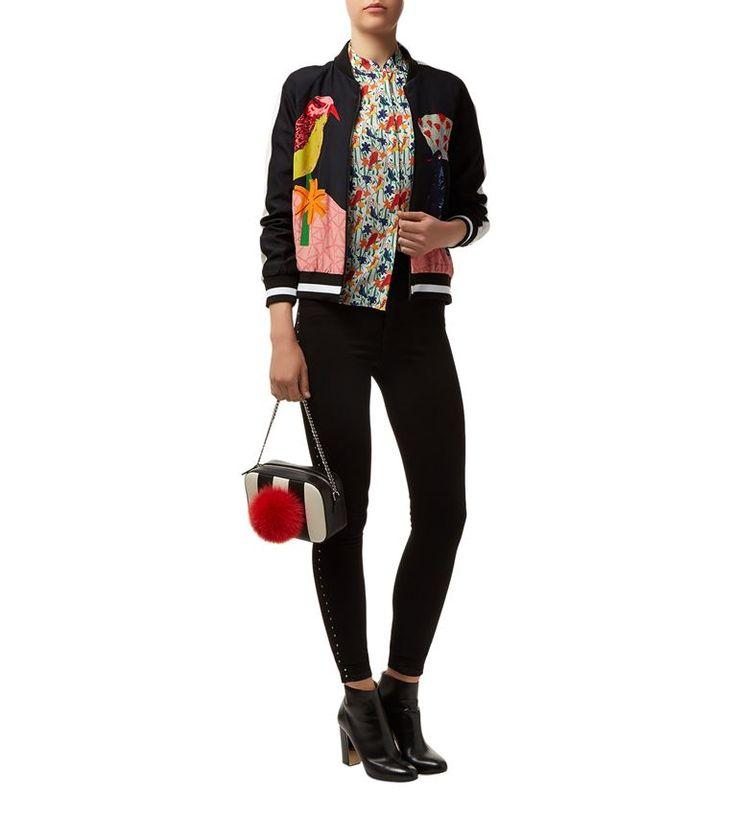 Women: Bomber Jackets Alice + Olivia Felisa Bird Print Bomber Jacket