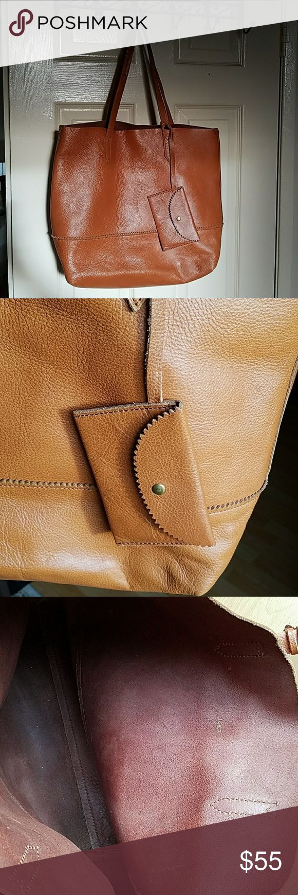 """Jcrew genuine leather tote bag VGUC chestnut brown leather tote. Comes with removable card holder. A few scuffs, as noted in pictures. One of the straps has some rippling of the leather. One large main compartment. Lots of life left!  Measures 13""""x6""""x13"""" with 9"""" strap drop. J. Crew Bags Totes"""