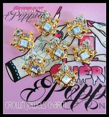 Rhinestone Crown Nail Charms