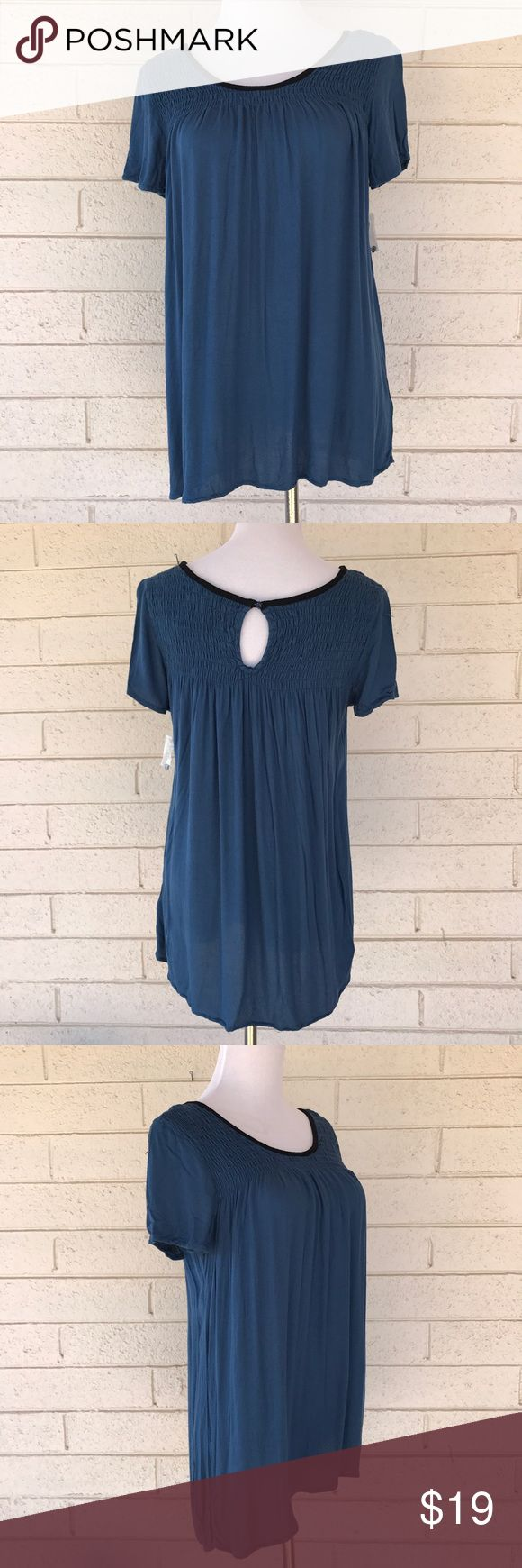 NWOT Ella Moss Smocked Billowy Blue Tunic Tee Navy blue short sleeved tunic top by Ella Moss. Smocked bodice and keyhole back - from fitted on the top to billowy and breezy at the bottom. New without tags (though the extra button is still attached in a baggie). Ella Moss Tops Blouses