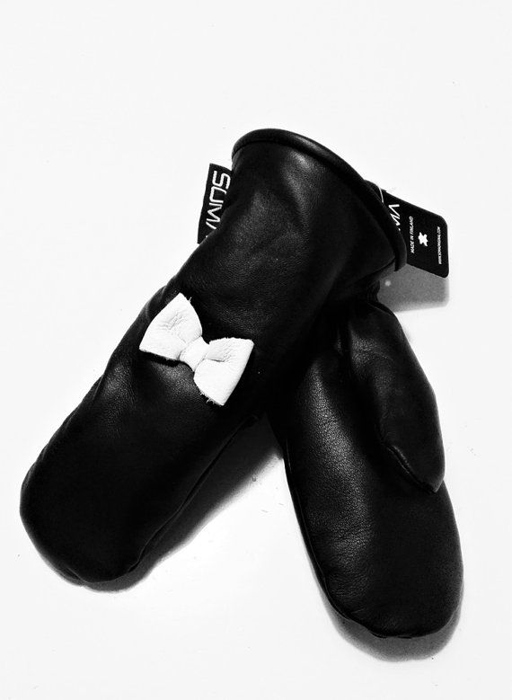 WOMENS LEATHER MITTENS Black/White Bow by somaoriginal on Etsy