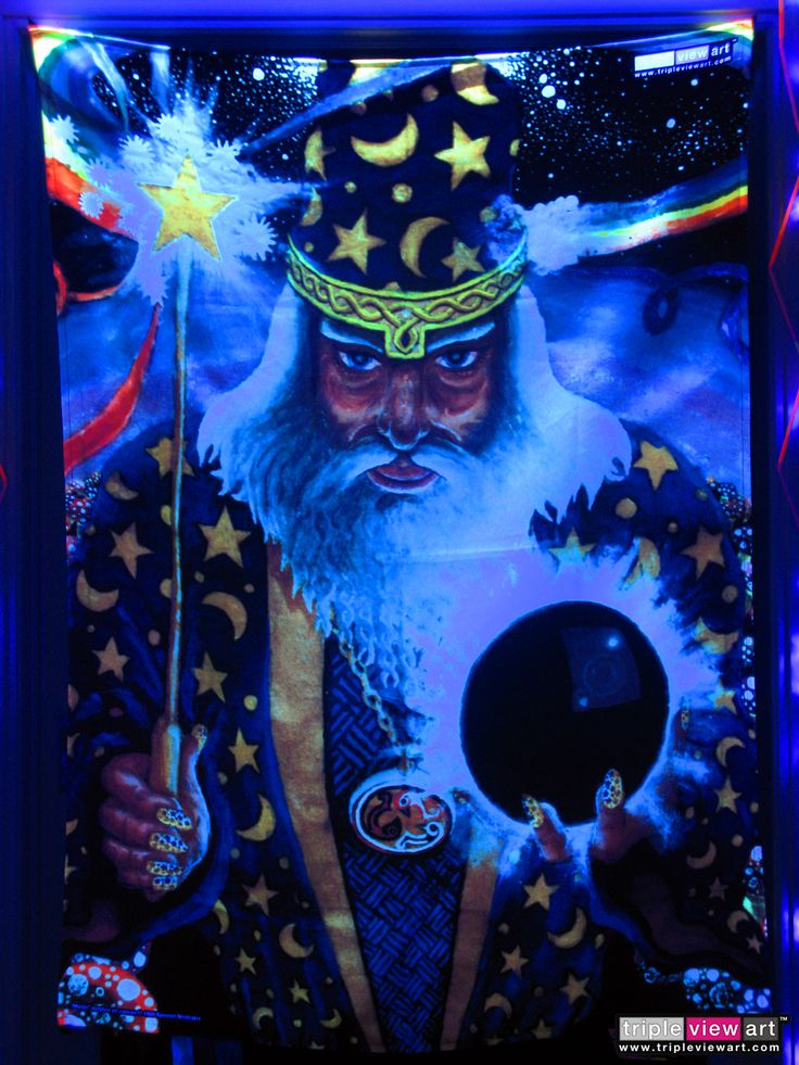 """""""Merlin"""" UV-Blacklight Fluorescent Glow Psychedelic Art Backdrop, £90 in Tripleview Art Shop. #psychedelic #psy #goa #trance #psytrance #goatrance #rave #club #festival #trippy #hippie #esoteric #mystic #spiritual #visionary #symbolism #UV #ultraviolet #blacklight #fluorescent #fluoro #fluo #neon #glow #luminescent #art #backdrop #banner #wallhanging #tapestry #deco #merlin #wizard #magus #magic #rainbow #mushrooms"""