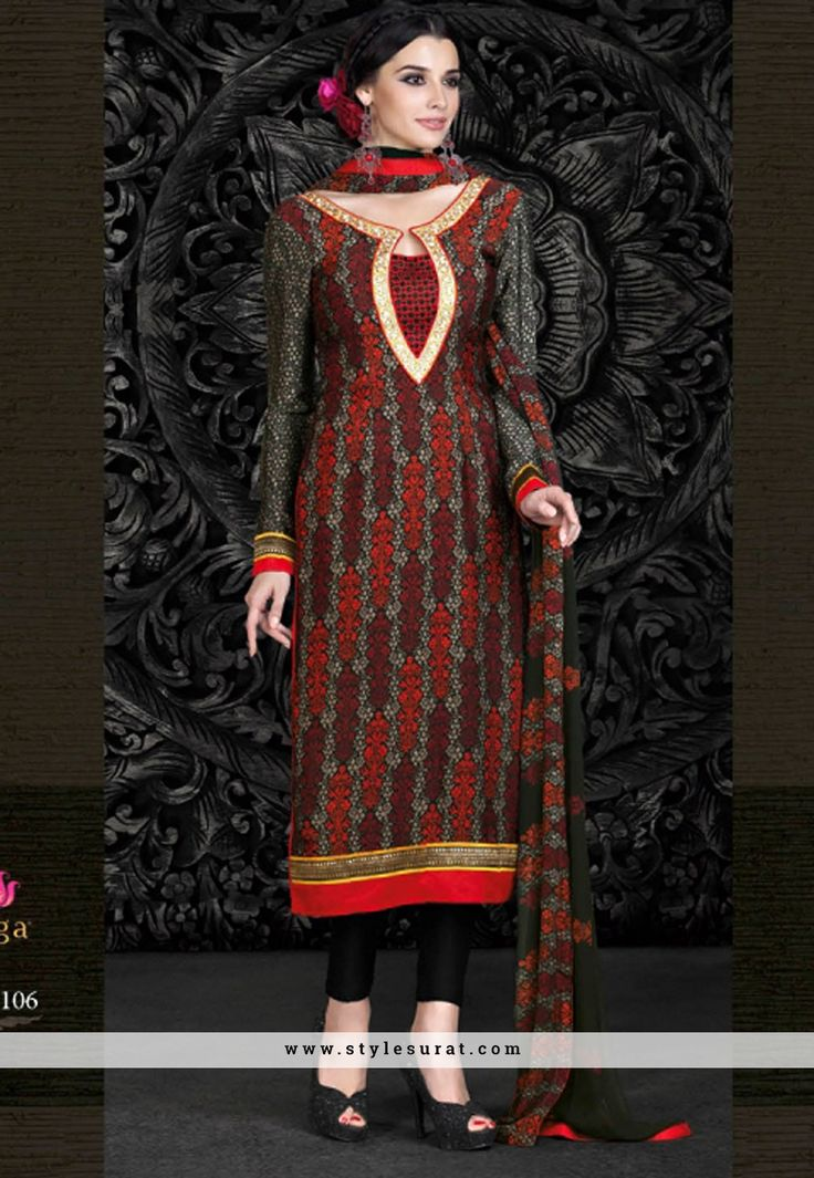 Multi Color French Crepe Printed Designer Straight Long Salwar Kameez