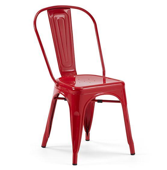 Silla roja vintage tolix material metal silla apilable de for Silla roja y azul