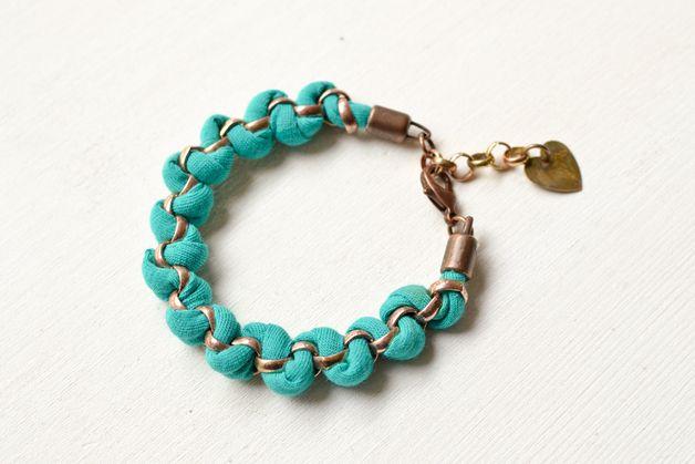 Fabric Wristbands & Bracelets – Emerald Green Fabric Bracelet – a unique product by gudbling on DaWanda