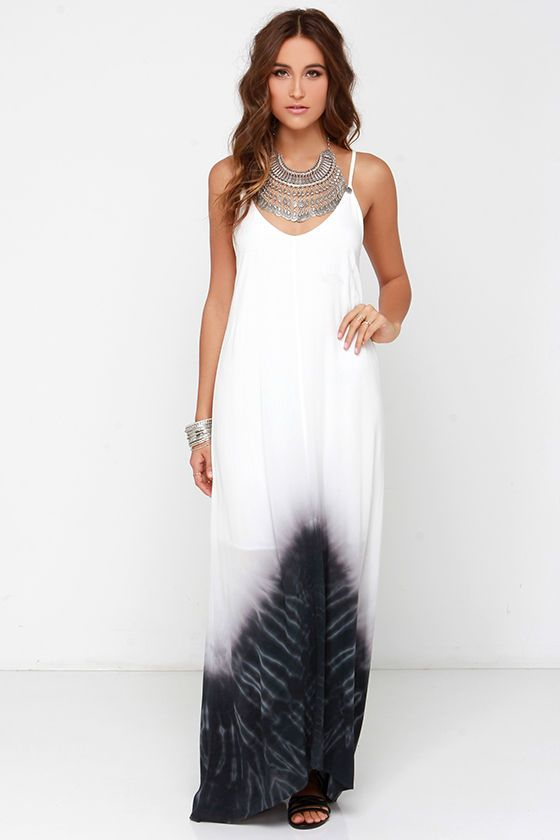 Oh, So Boho Ivory and Washed Black Tie-Dye Maxi Dress at Lulus.com!