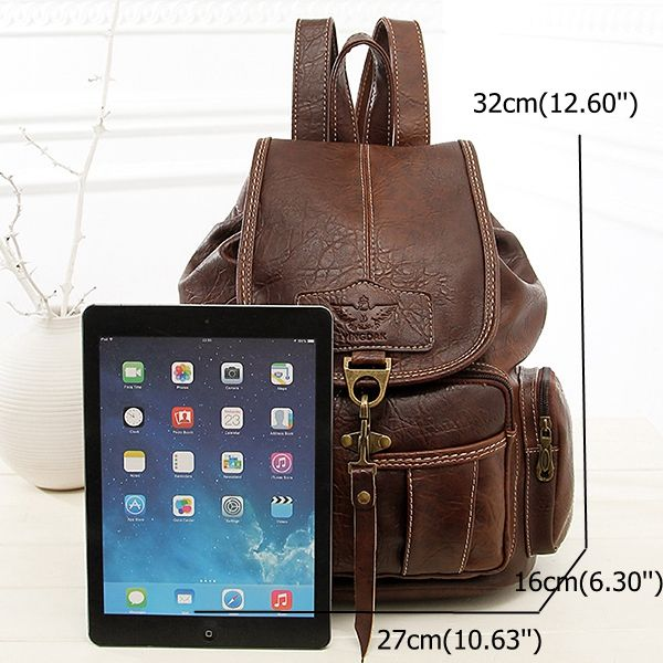 Women Men PU Leather Vintage Shoulder Bag School Bag Backpack Online - NewChic Mobile