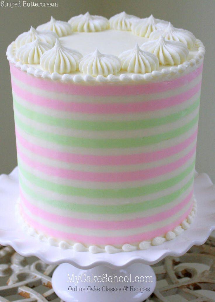How to Create Beautiful Striped Buttercream! Member Cake Video by MyCakeSchool.com. Online Cake Tutorials & Recipes!
