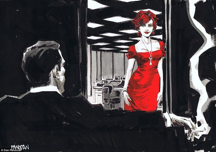 Marvel and DC comic book designer creates stunning Film Noir style images of Mad Men characters Joan Holloway and Don Draper   Mail Online