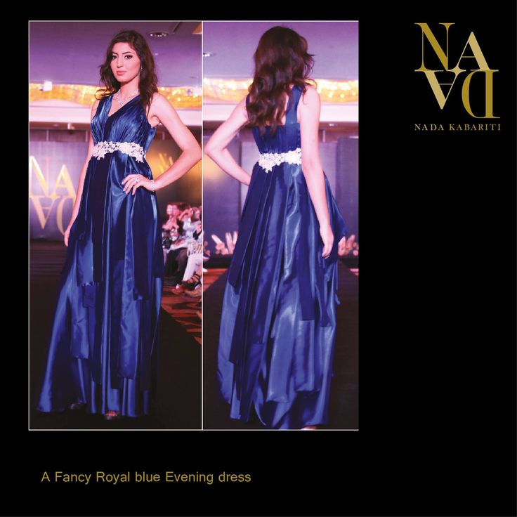 Fancy royal blue evening dress designed by Nada Kabariti