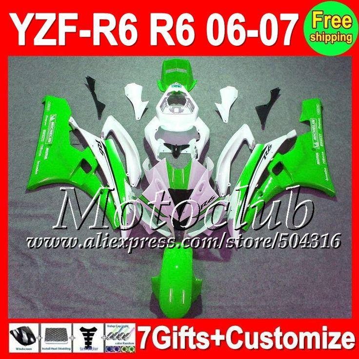 Зеленый белый 7 подарок + тела для YAMAHA 06-07 YZFR6 YZF600 YZF R6 2006 2007 светло-зеленый C96141 YZF R 6 YZF 600 YZF-R6 06 07 обтекателя
