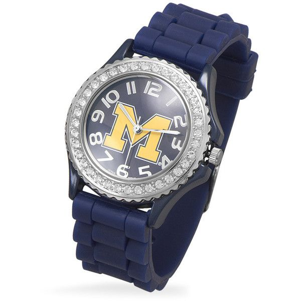 Collegiate licensed university of michigan ladies' fashion watch ($46) ❤ liked on Polyvore featuring jewelry, watches, clear jewelry, swarovski crystal jewelry, clear watches, swarovski crystal watches and logo watches