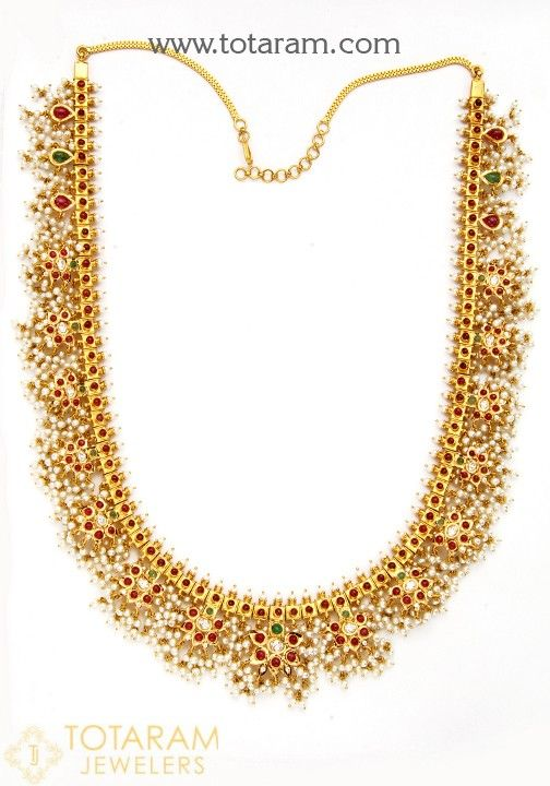 22 Karat Gold Necklace (Butta Pusalu) with Pearls , Cz , Ruby & Emerald Beads   Gross Gold Weight of Necklace (with Back Chain) : 148.050 Grams  NET Gold Weight : 112.900 grams