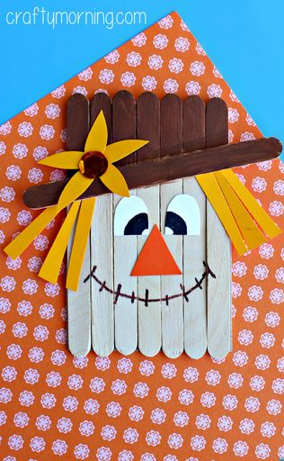 Popsicle Stick Scarecrow Craft #Fall craft for kids to make! | CraftyMorning.com