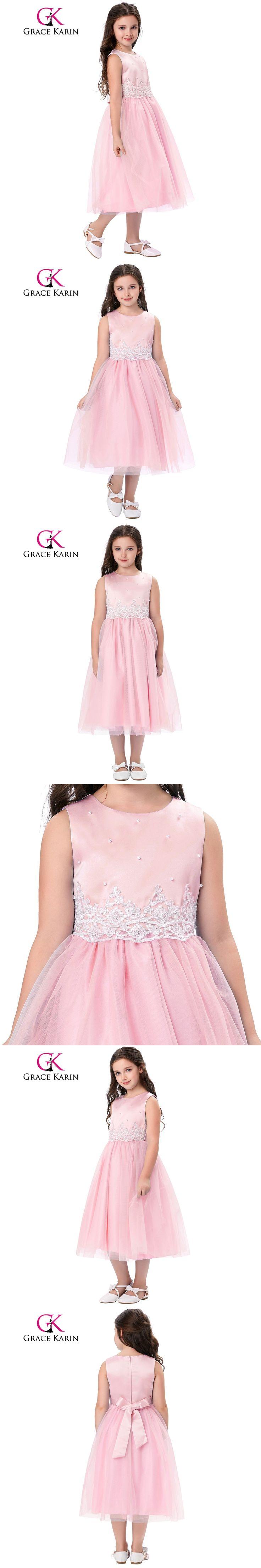 Grace Karin 2017 Tank Pageant Dresses For Little Girls Ivory Pink Sleeveless Crinoline Flower Girl Dress For First Communion