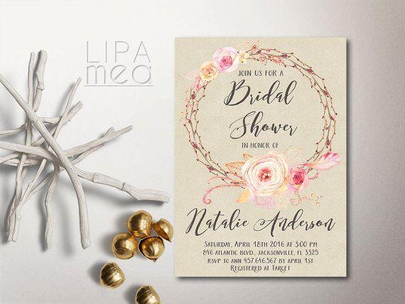Rustic Bridal Shower Invitation Printable Bridal Shower by lipamea