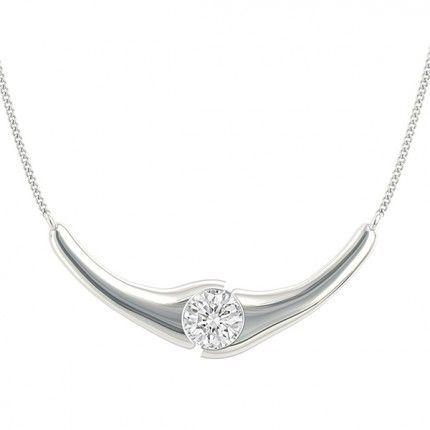 Embrace Round Brilliant Diamond Necklace in 18kt White Gold