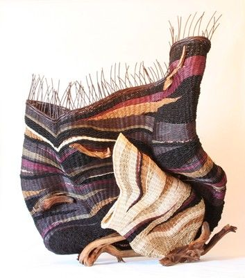 Pat Jeffers | 'Universal Portrait'. Hand dyed and natural reed, coir, sugar palm, seagrass, copper wire, sagebrush bases